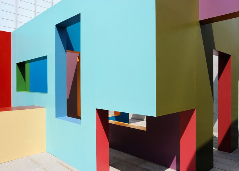 Colourful architectural structures at Turner Contemporary created by Krijn de Koning.