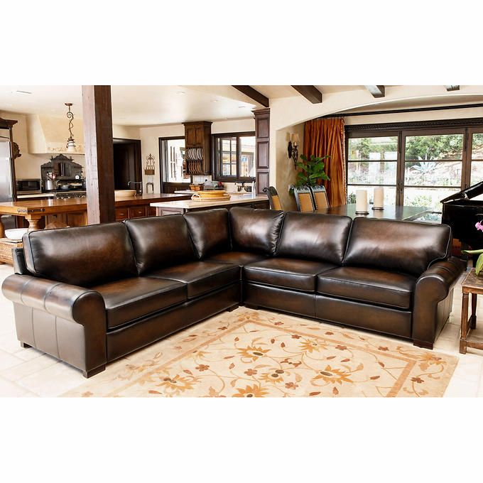 Costco Living Room Sets: Casey Top Grain Leather Sectional - Costco