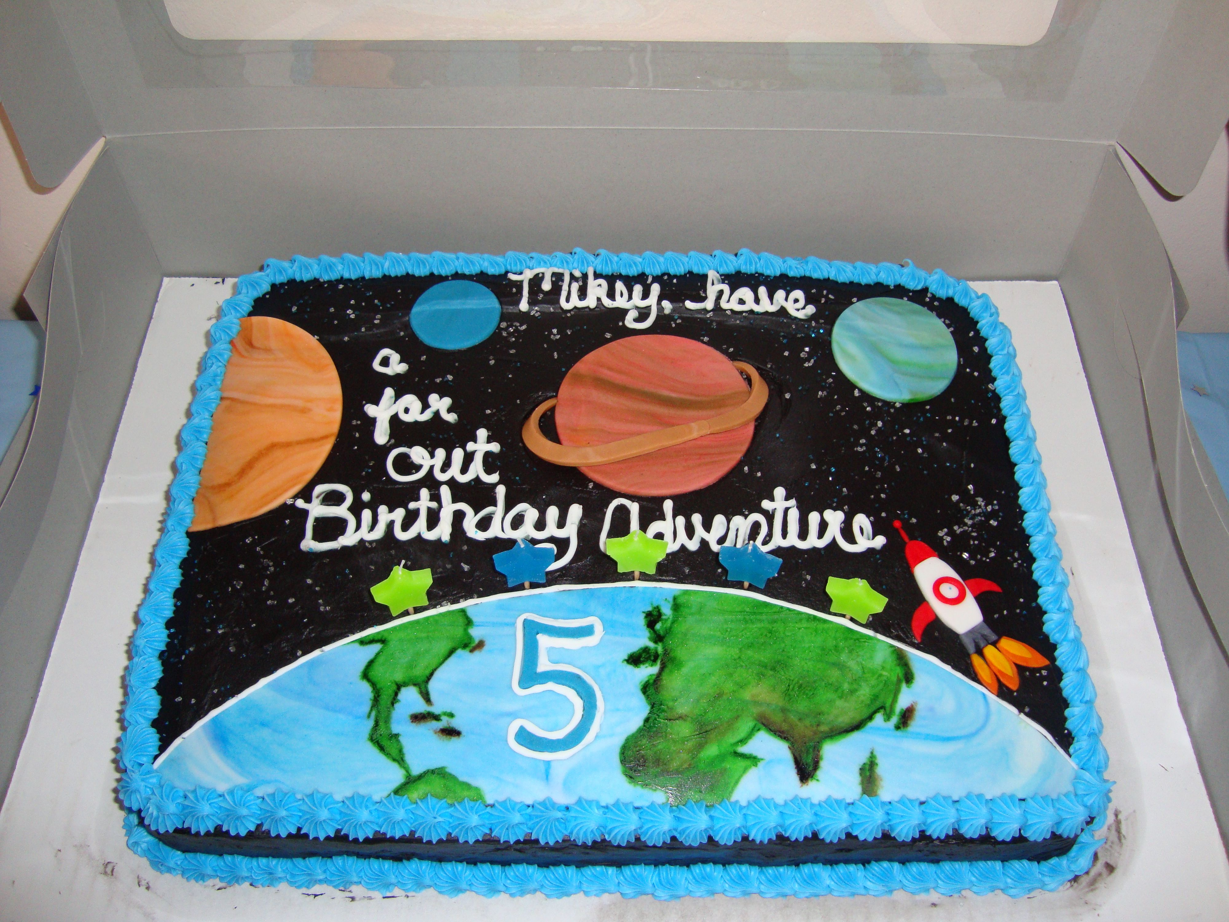 Outer Space Cake For My 5 Year Old Son Dinosaur Birthday Cakes