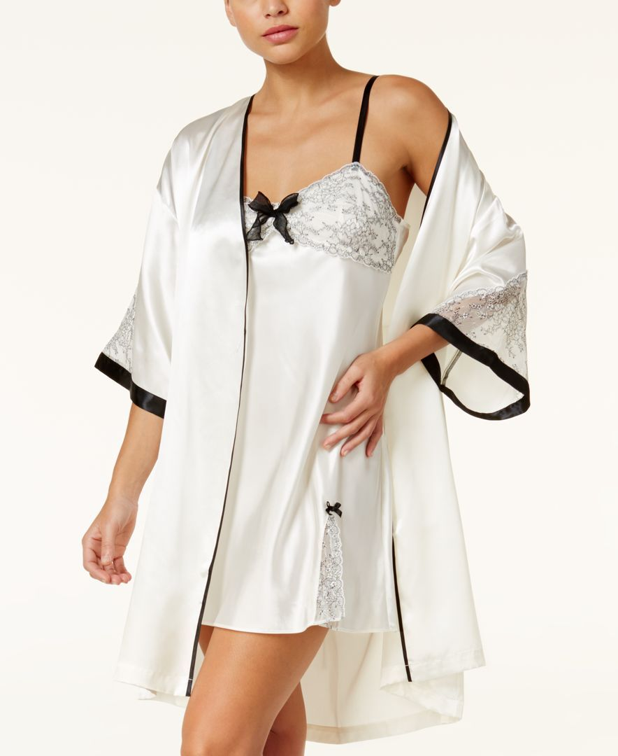 Thalia sodi lace and satin bridal wrap robe created for macyus