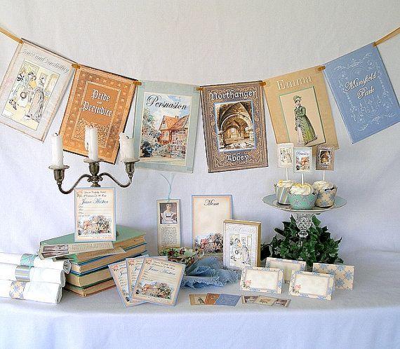 Tema Matrimonio Jane Austen : Jane austen printable party pack kit wedding birthday bridal