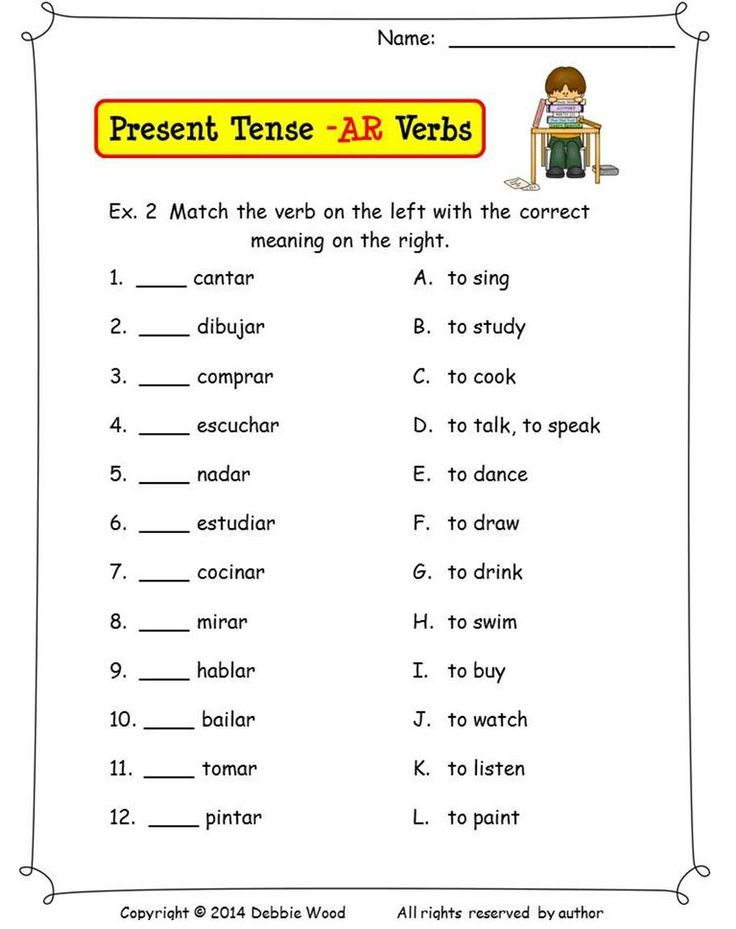 spanish regular present tense verbs worksheet Google