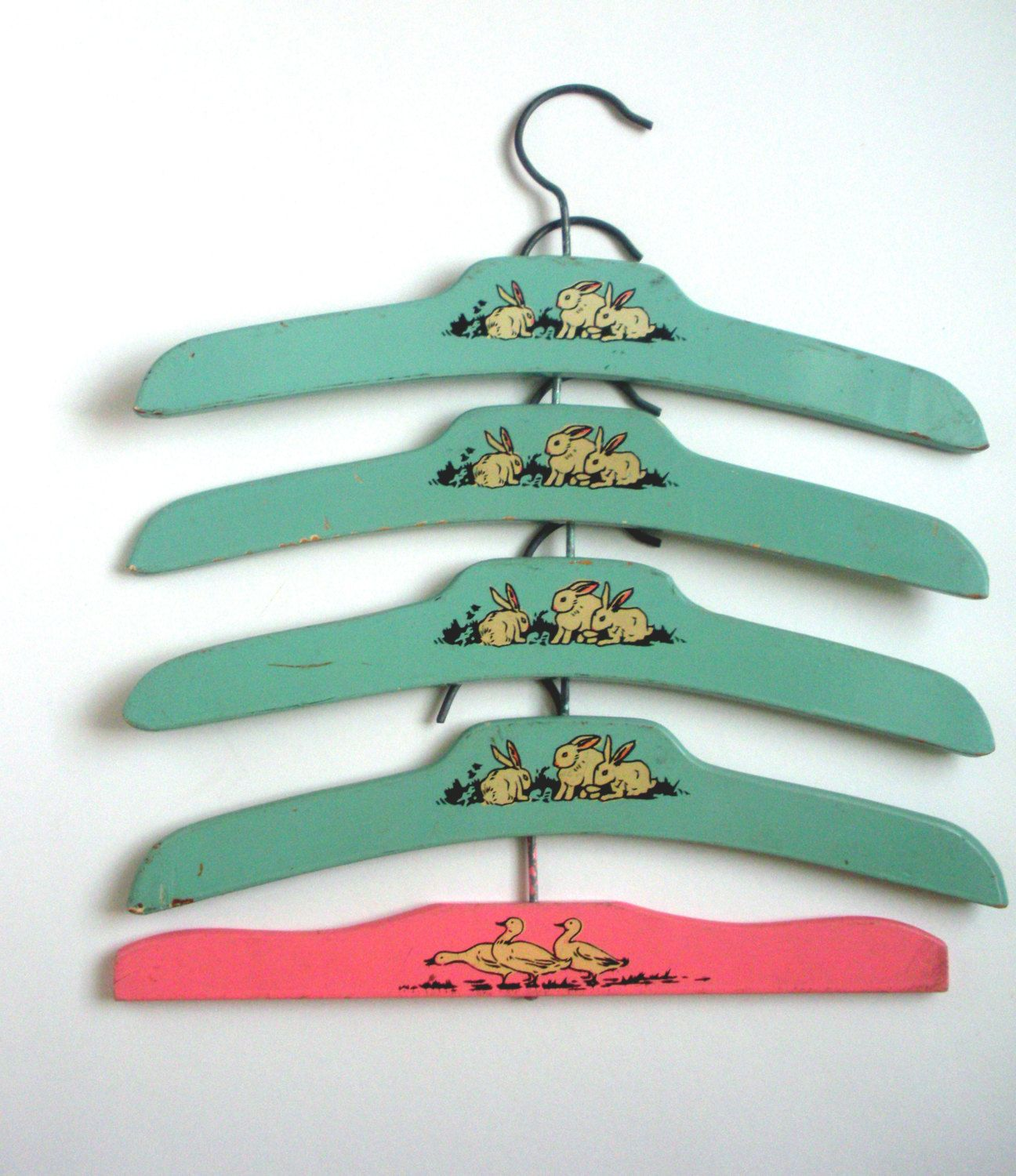 Vintage Wooden Baby Clothes Hangers, 4 Mint Green and 1 Tangerine ...