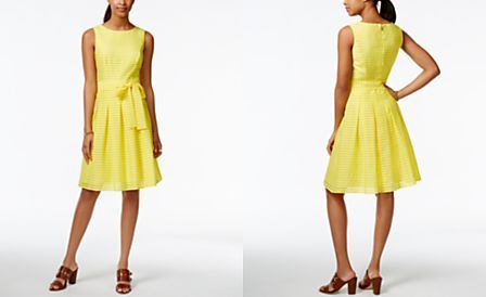 Tommy Hilfiger Illusion-Stripe Pleated Dress, Only at Macys.com