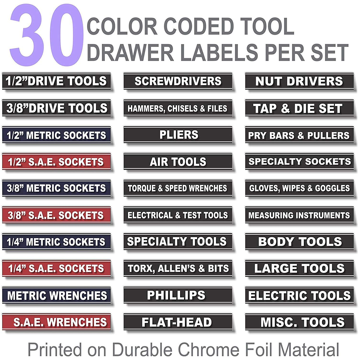 Magnetic Toolbox Labels Plus Socket Labels Master Set For Metric Blue Torx Sae Tools Fits All Craftsman Snap On Mac Tools Labels Tool Box Tool Drawers