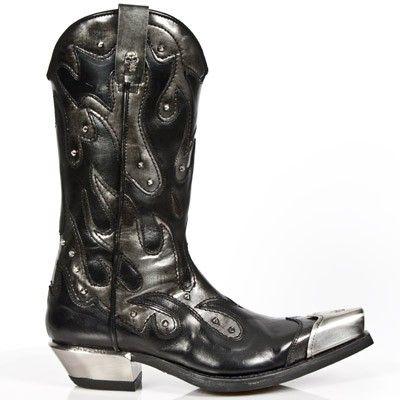 M.7952P C2 New Rock BlackSteel Grey Cowboy Boots with Metal