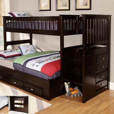 Discovery World Furniture Twin Over Full Staircase Bunk Bed Cool