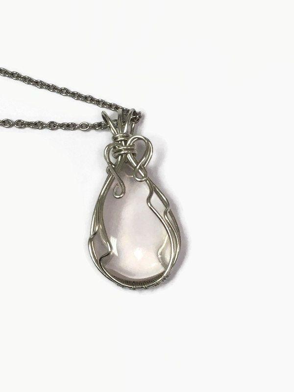 Wire Wrap Rose Quartz Necklace Pendant/Wire Wrap jewelry/Wire Wrapping/Rose Quartz Jewelry/Wire Wrapped Necklace/Wire Wrapped Pendant