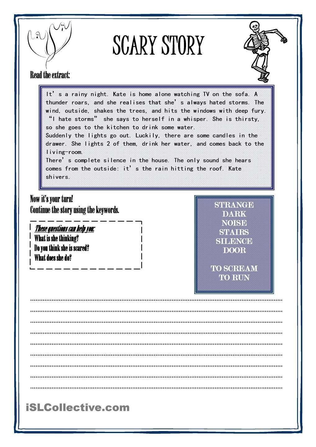 scary story esl caddy scary worksheets and school scary story halloween