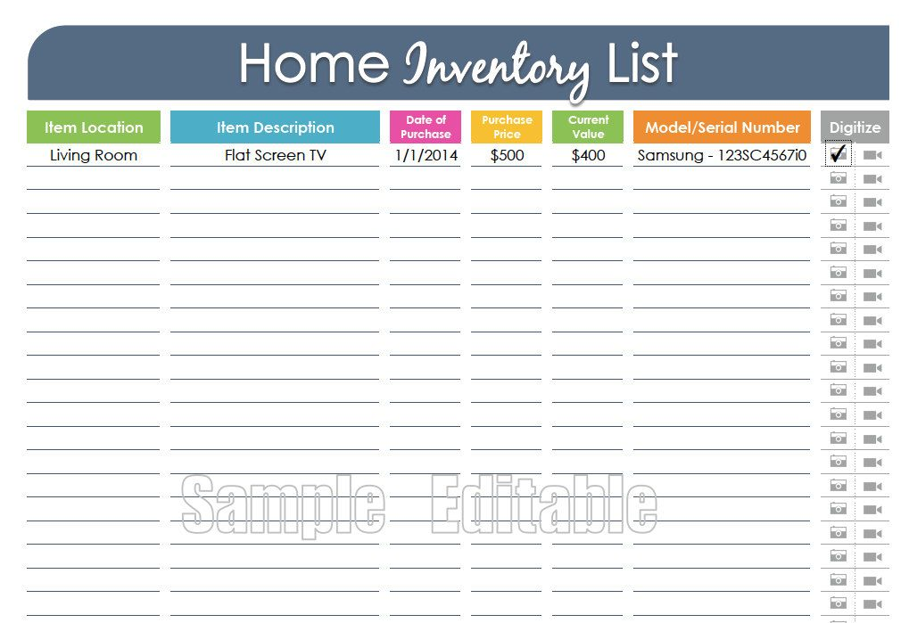 Home Inventory Organizing Printable Fillable Household