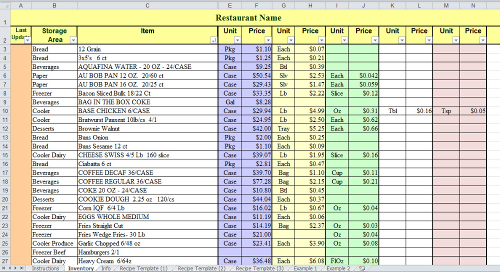 Sync Inventory and Recipes with Excel in 2020 Recipe