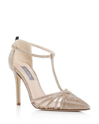 SJP by Sarah Jessica Parker Carrie Glitter Cage T-Strap Pumps    Bloomingdale's