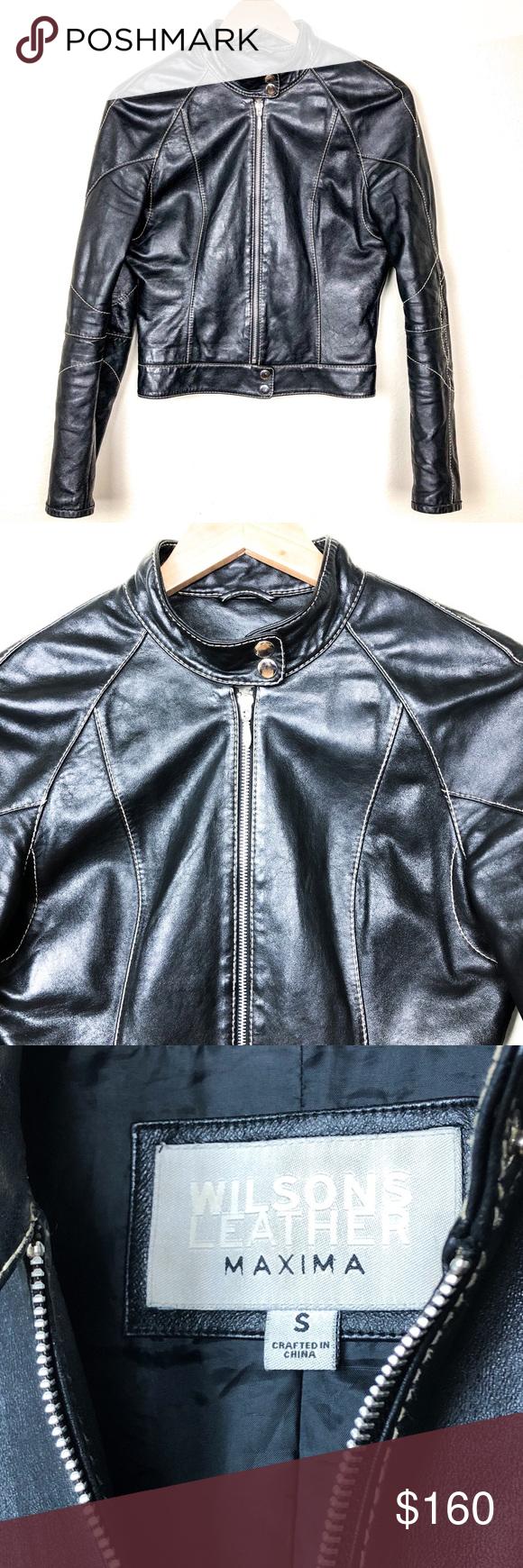 Wilson's Maxima Black Leather Moro Jacket S Clothes