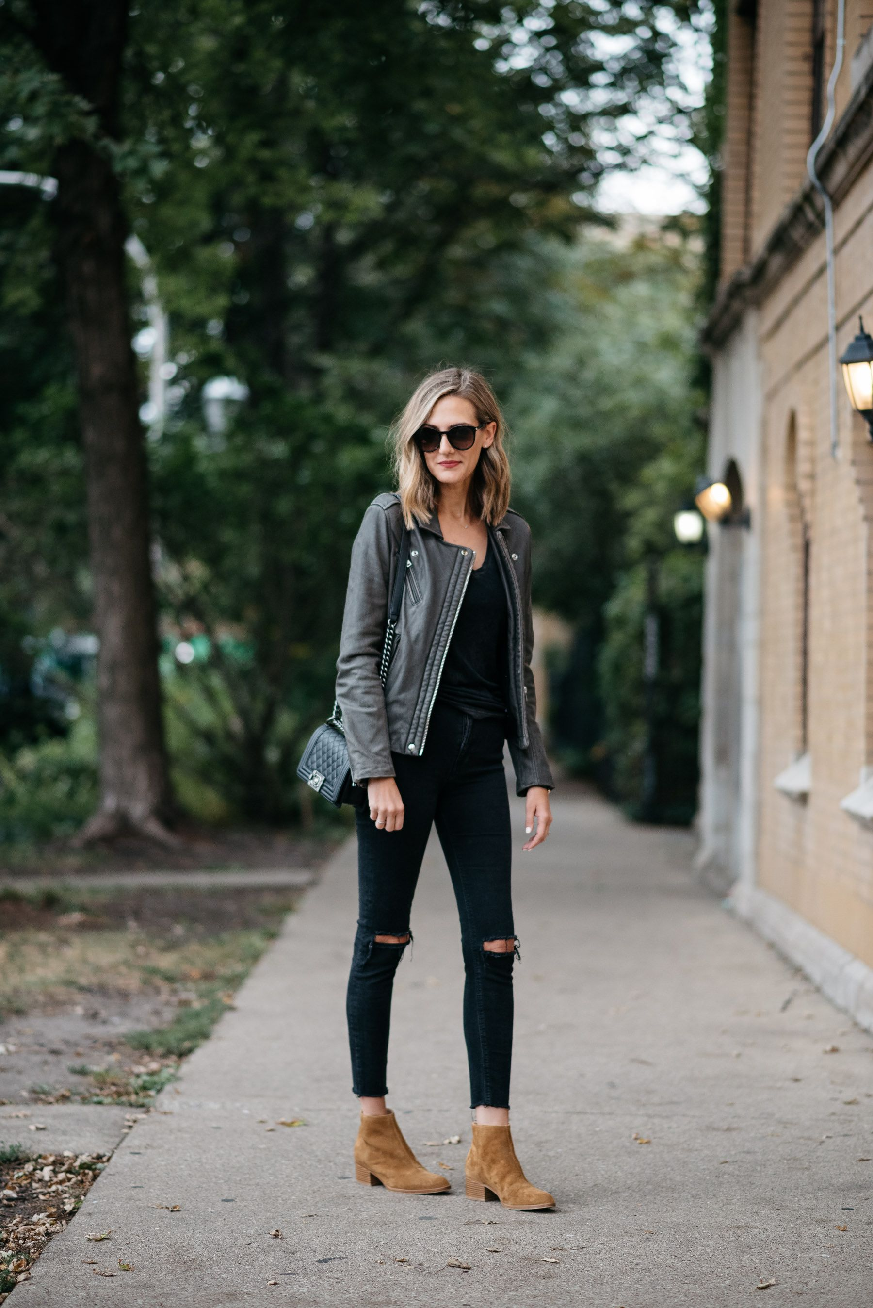 Fall All Black Outfit Iro Leather Jacket Gray Leather Jacket Outfit Brown Leather Jacket Outfit Grey Leather Jacket [ 2696 x 1800 Pixel ]