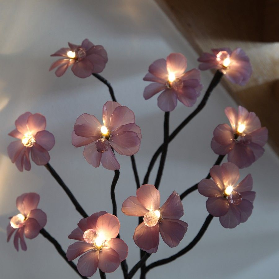60cm indoor battery flower lights with vase and timer