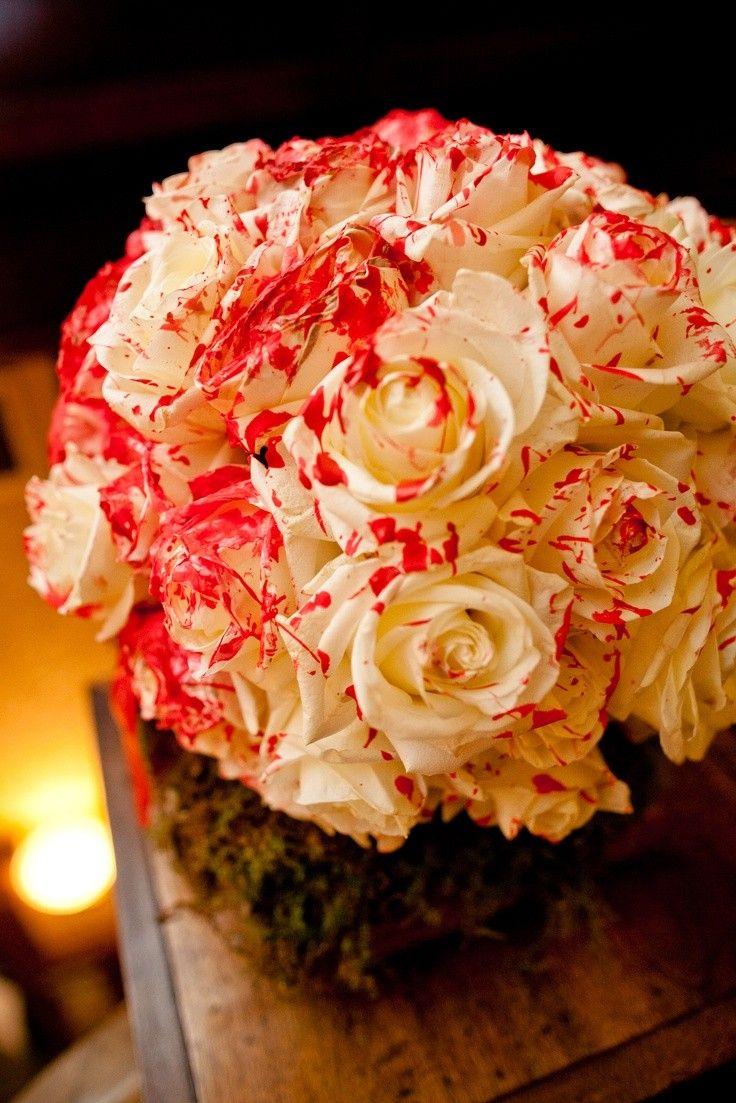 Alice in wonderland themed wedding dress  Paint Splattered Roses flower balls for alice in wonderland wedding