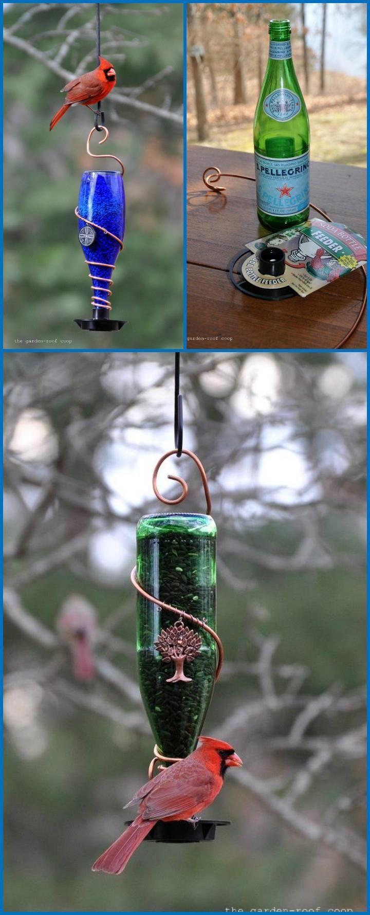 Metal Wire and Glass Bottle Bird Feeder - 89 Unique DIY Bird Feeders ...