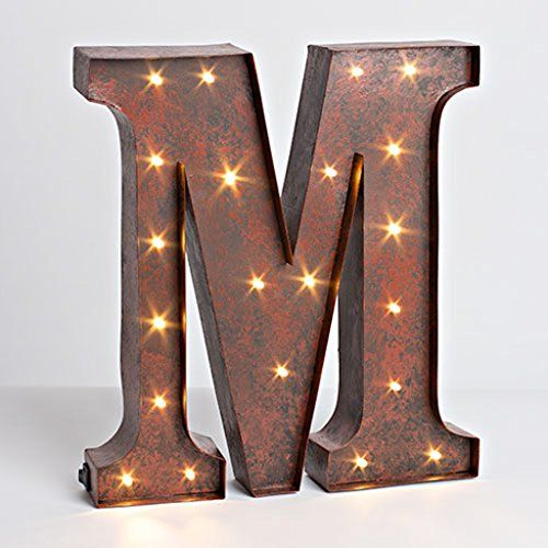 12 rustic brown metal battery operated led lighted letter