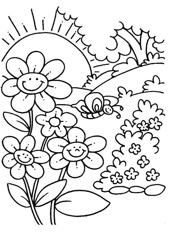 Elegant Printable Spring Coloring Pages With Additional Coloring