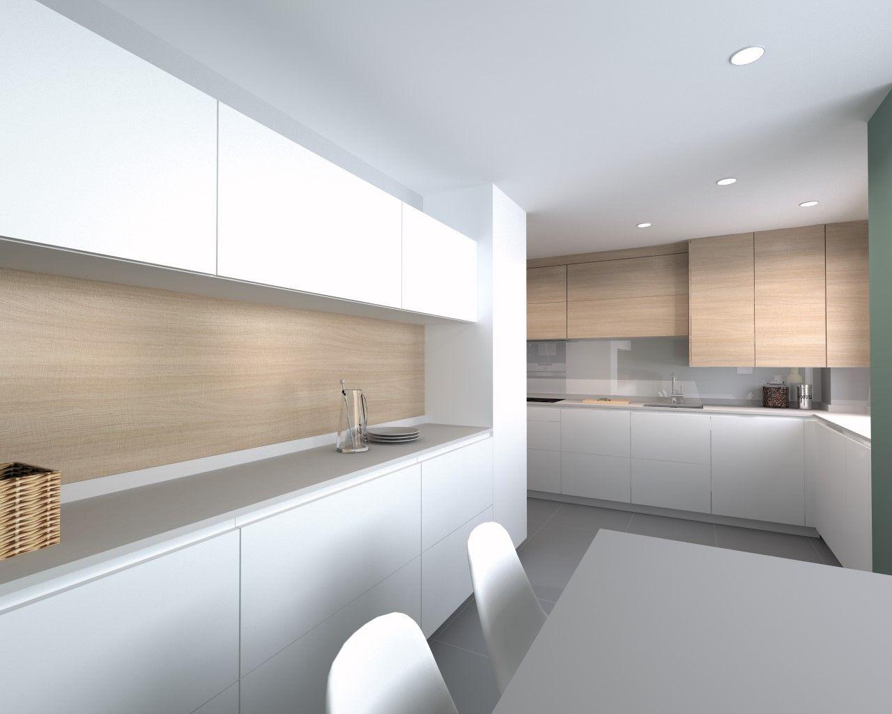Cocina Santos Modelo Line E 13 Blanco Innsbruk Y Roble Kairos Iluminacion De Cocina Moderna Cocina Comedor Concepto Abierto Cocinas Blancas Modernas