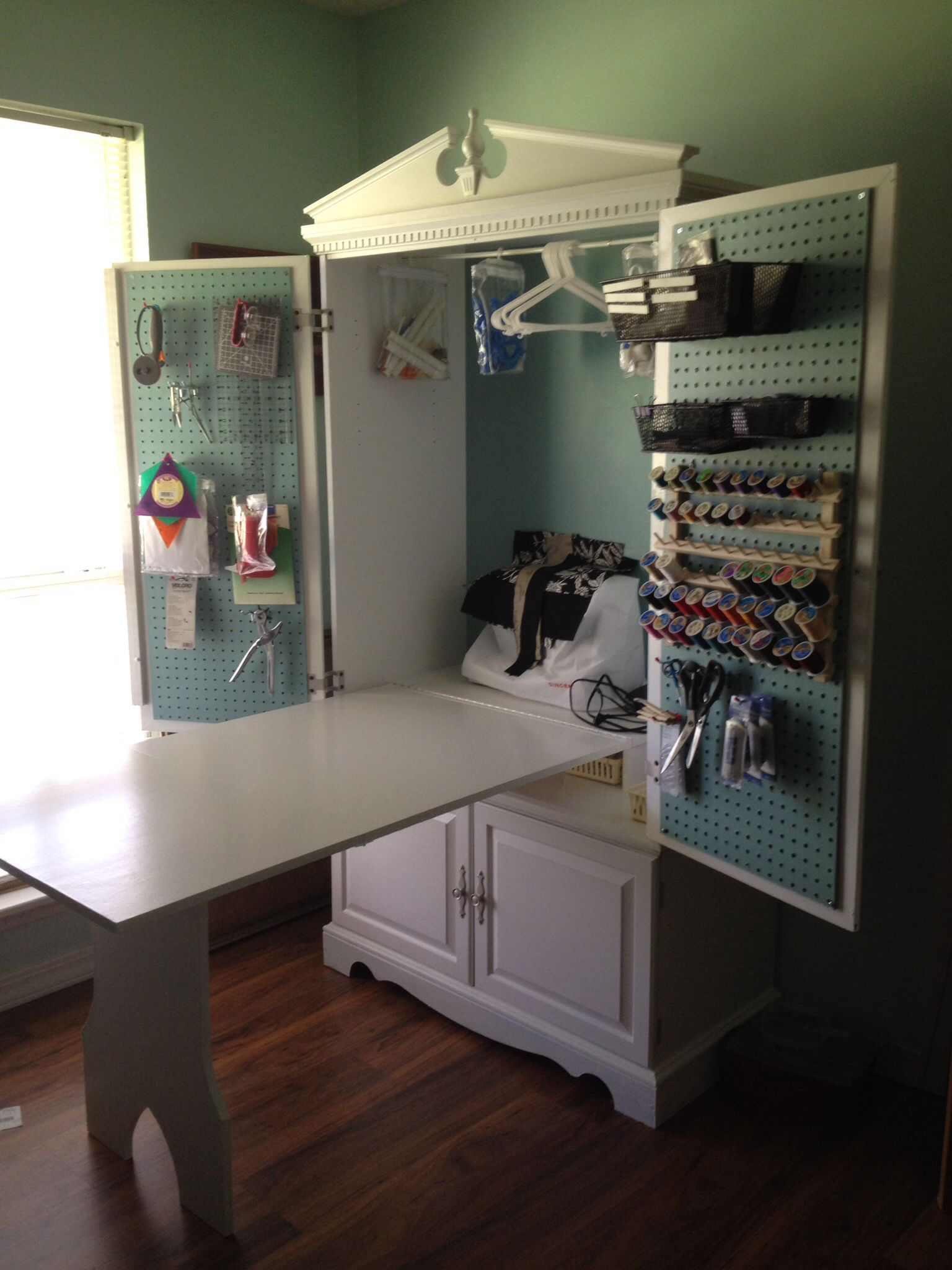 Tv Armoire Turned Into A Sewing Cabinet With Fold Up Table Sewing Cabinet Sewing Rooms Craft Room Storage