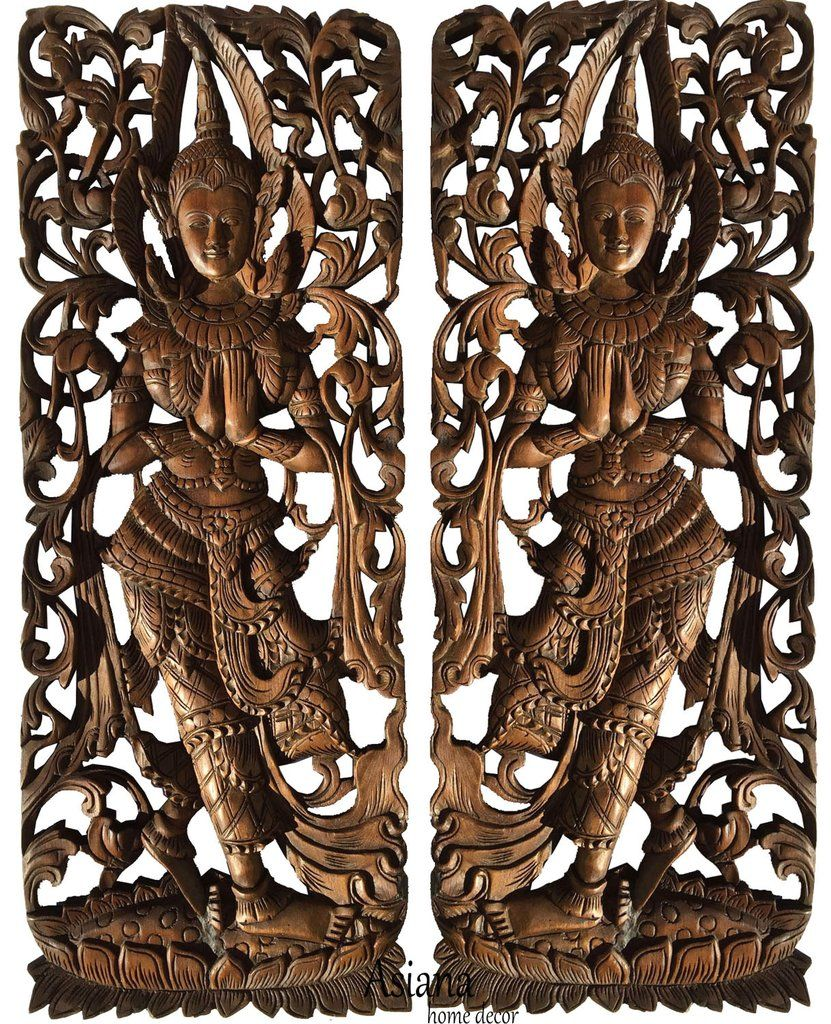 Traditional Thai Sawaddee Figure Wall Art Panels. Asian ...