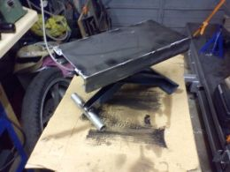 Motorcycle Lift Homemade Adapted From A Scissor Jack