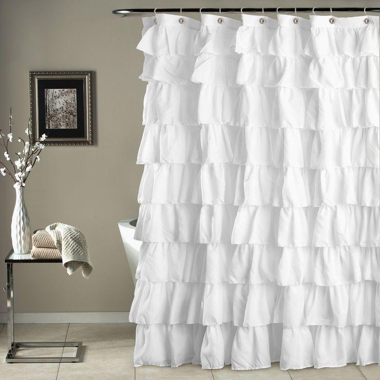 White Ruffle Shower Curtain Ruffle Shower Curtains White Ruffle