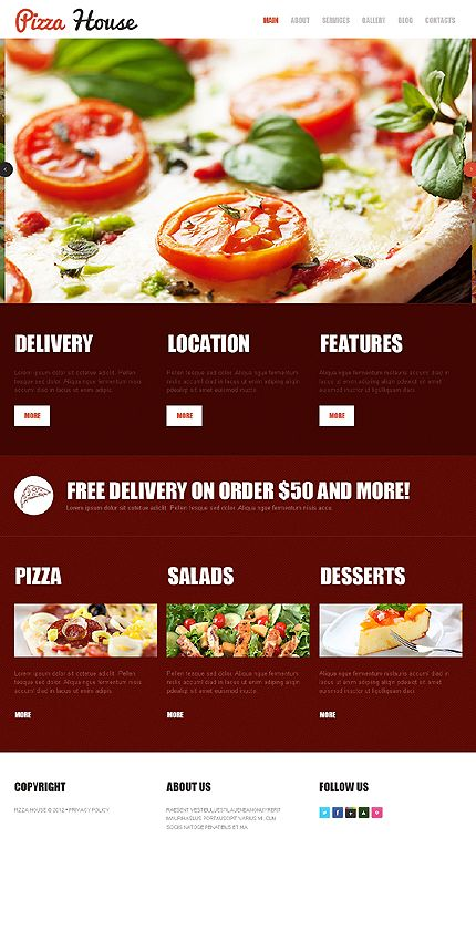 Template 42006 Pizza House Joomla Template With Images Pizza