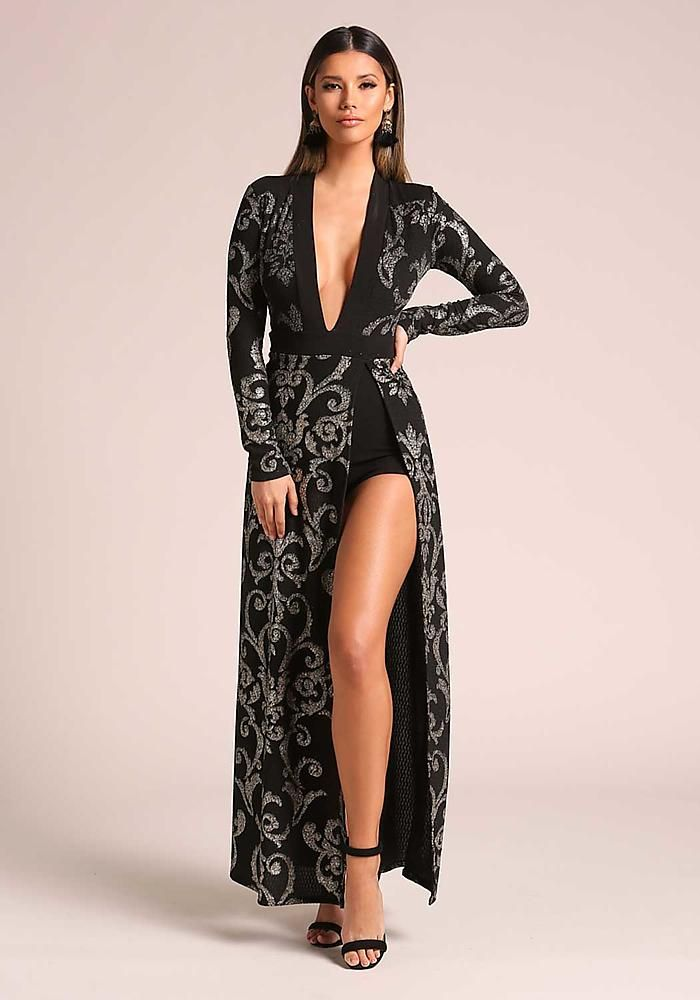 23da80a539a Black and Silver Plunge High Slit Brocade Maxi Dress - New