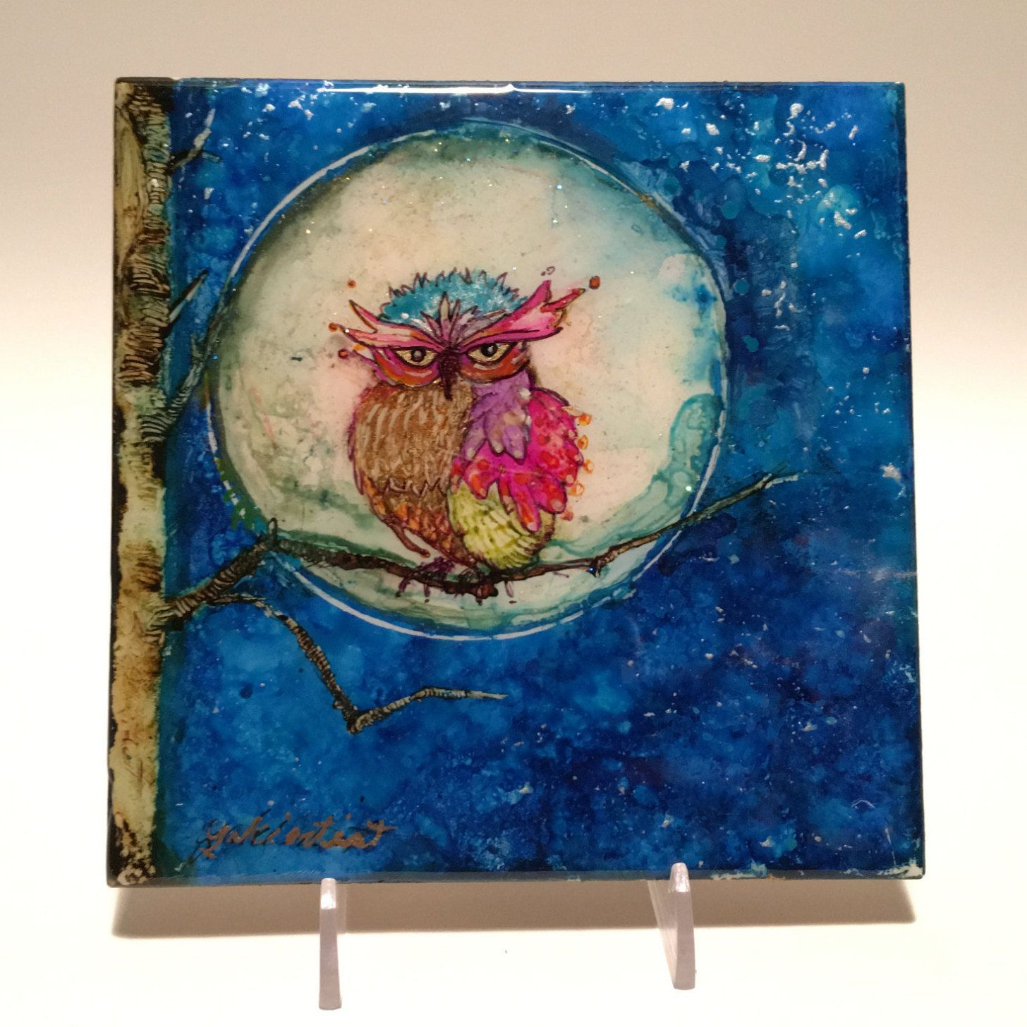 Alcohol Ink Painting, Watercolor Of Owl, AcrylicPaintings, Owl in Moonlight…