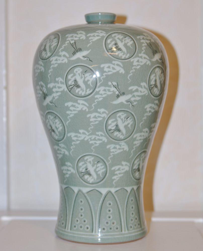 Large korean celadon porcelain vase flying cranes signed 1125 large korean celadon porcelain vase flying cranes signed 1125 lotus flower top korean reviewsmspy