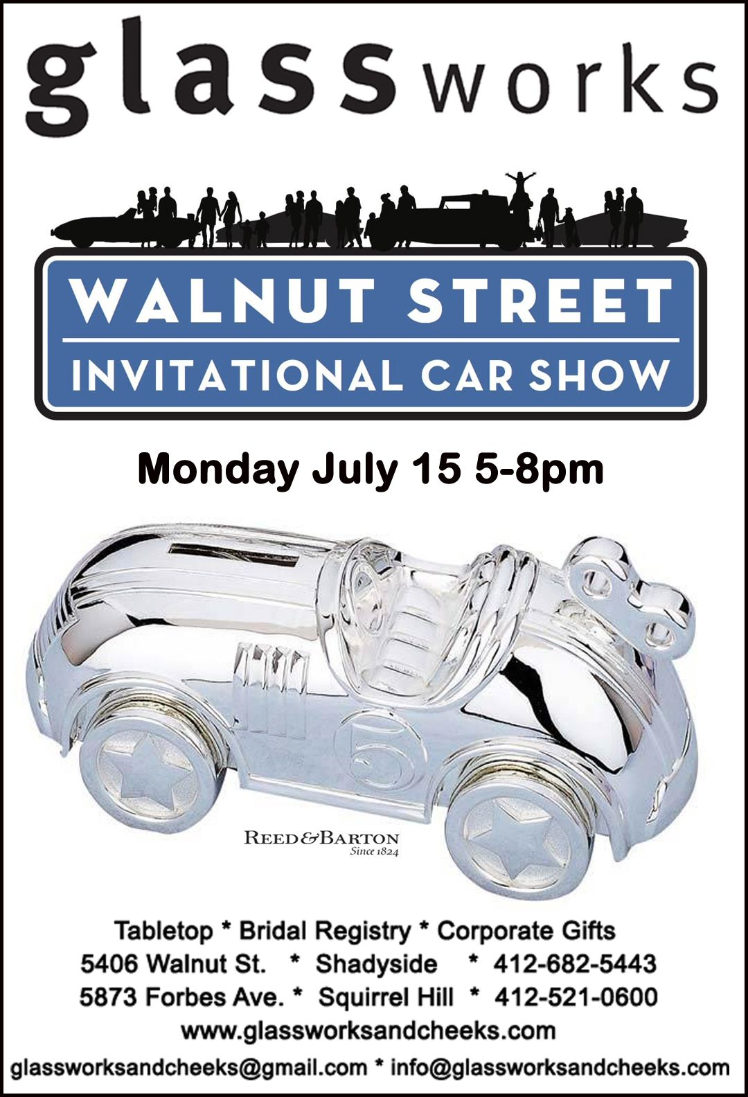 preview the sidewalk sale at glassworks during the walnut st car show on monday july 15 from 5 9 pm 135 rare cl classic gifts bridal gifts corporate gifts pinterest