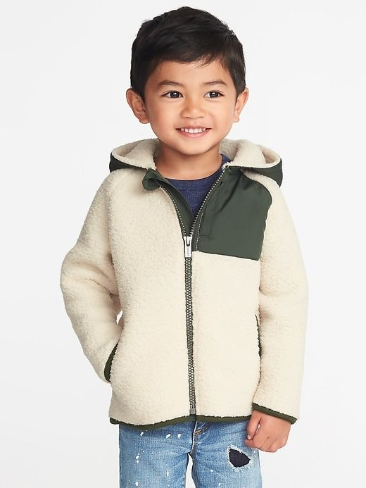 03be827b7 Old Navy Toddlers' Hooded Color-Block Sherpa Jacket Oatmeal/Green Size  12-18 M