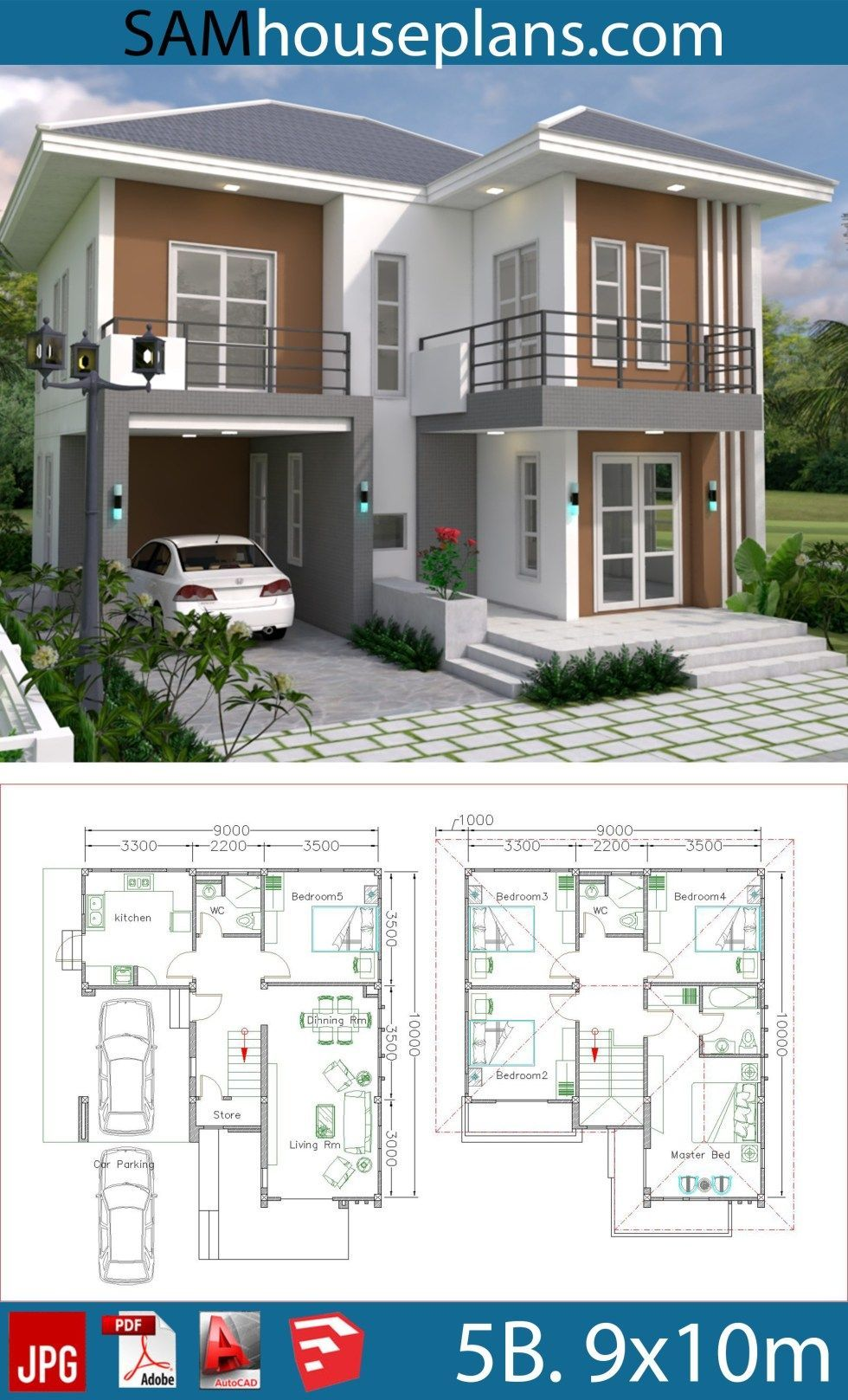 House Plans 9x10m With 5beds Sam House Plans Denah Rumah Arsitektur Rumah Rumah Indah