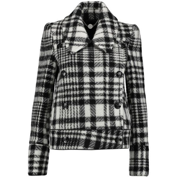 Stella McCartney Elisabetta checked wool-blend coat ($670) ❤ liked on Polyvore featuring outerwear, coats, jackets, black, wool blend double breasted coat, double breasted coat, wool-blend coat, checked coat and stella mccartney