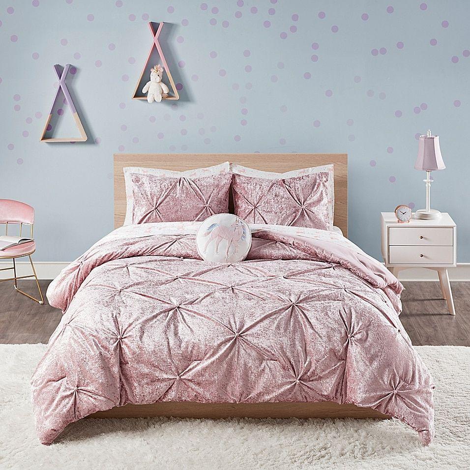 E E Co Ltd Ivy Crushed Velvet 2 Piece Twin Twin Xl Comforter Set In Pink In 2021 Comforter Sets Velvet Comforter Pink Bed Sheets