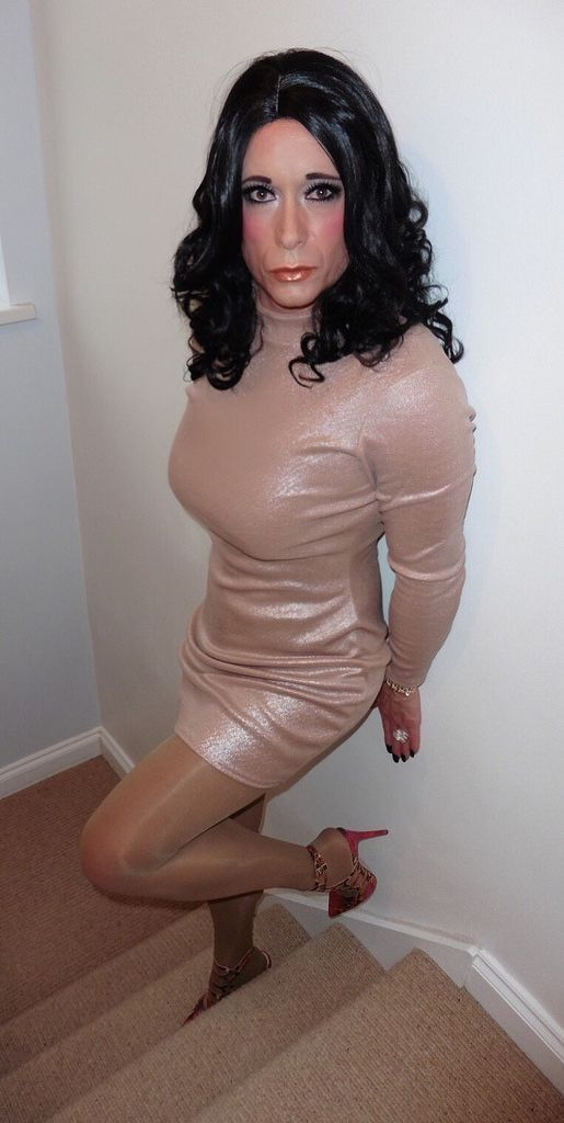 Blonde tranny in creamy sparkle dress