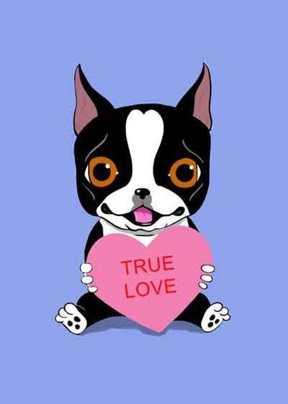 Boston Terrier Holding A Valentine Heart Dog Art Customizable Etsy Boston Terrier Gift Dog Art Boston Terrier Dog