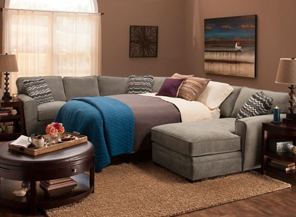 Microfiber Sectional Sofa W/ Full Sleeper Sofa | Sectional