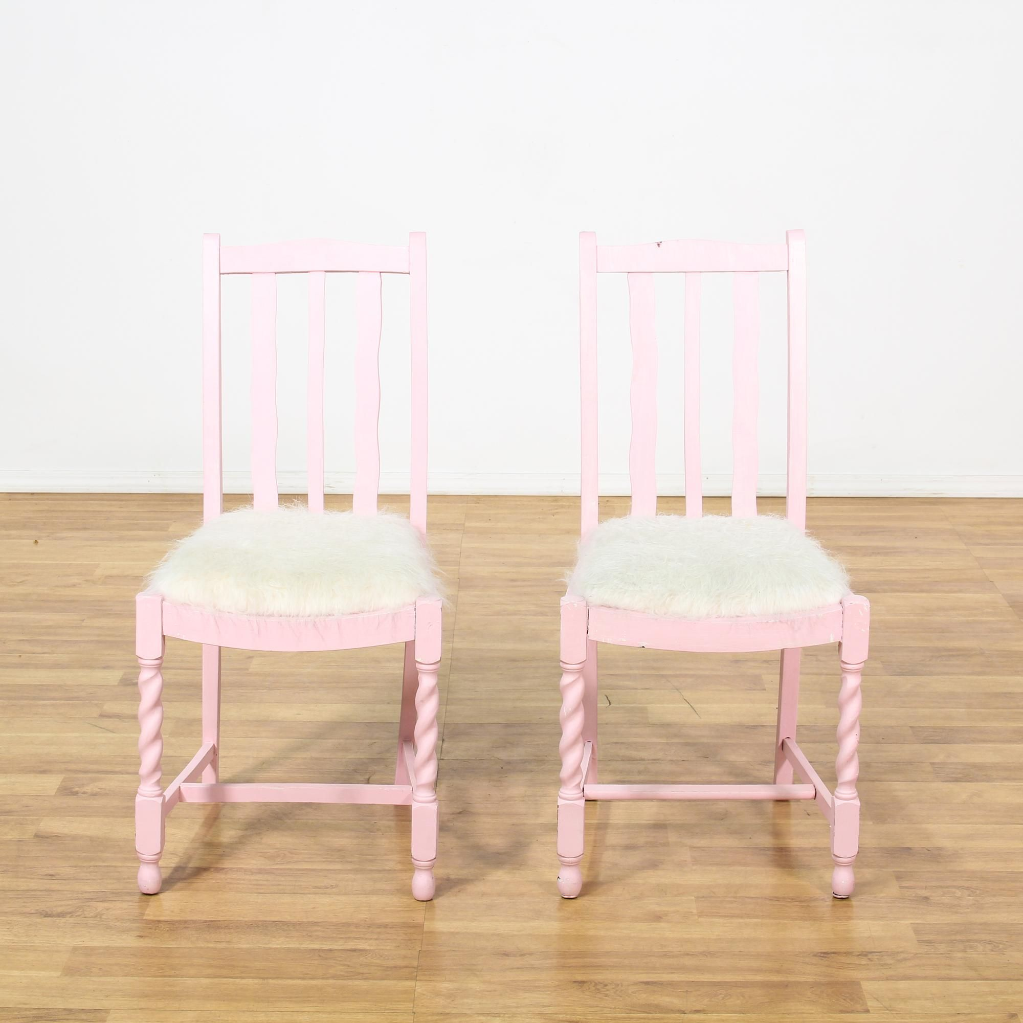 Light pink chairs - Pair Of Pink Chairs W White Fuzzy Seats