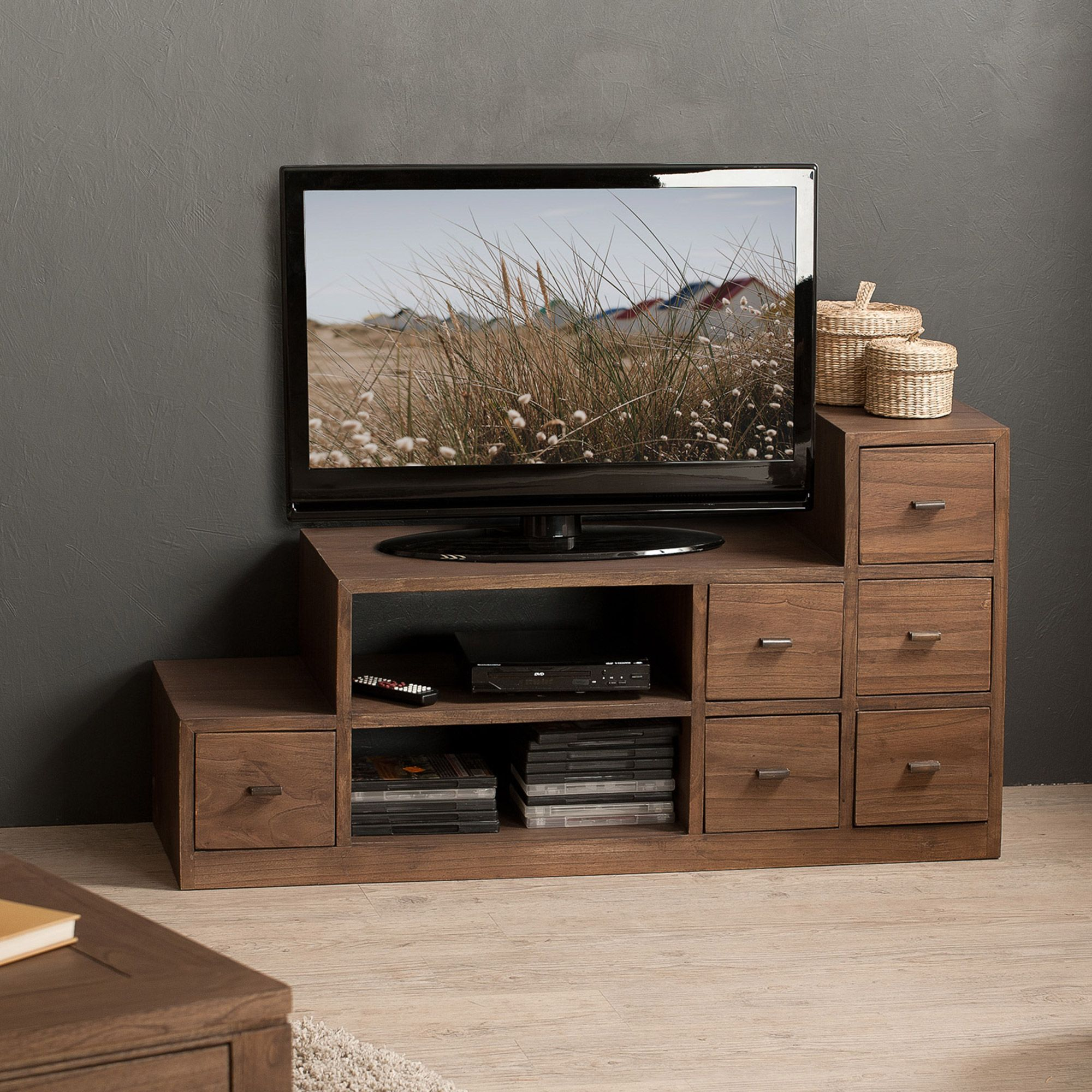 meuble tv bas en bois avec niches et tiroirs l105cm elia meuble tv bas niche et meuble tv. Black Bedroom Furniture Sets. Home Design Ideas