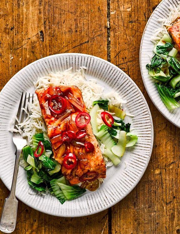 Sticky ginger salmon #pescatarianrecipes