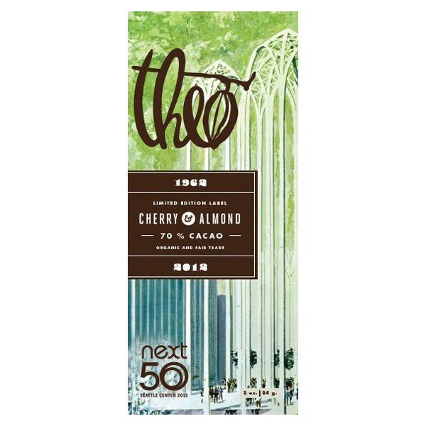 Theo   New & Seasonal   Next 50 Cherry & Almond Limited Edition Label. Dairy,gluten, & soy free, Vegan