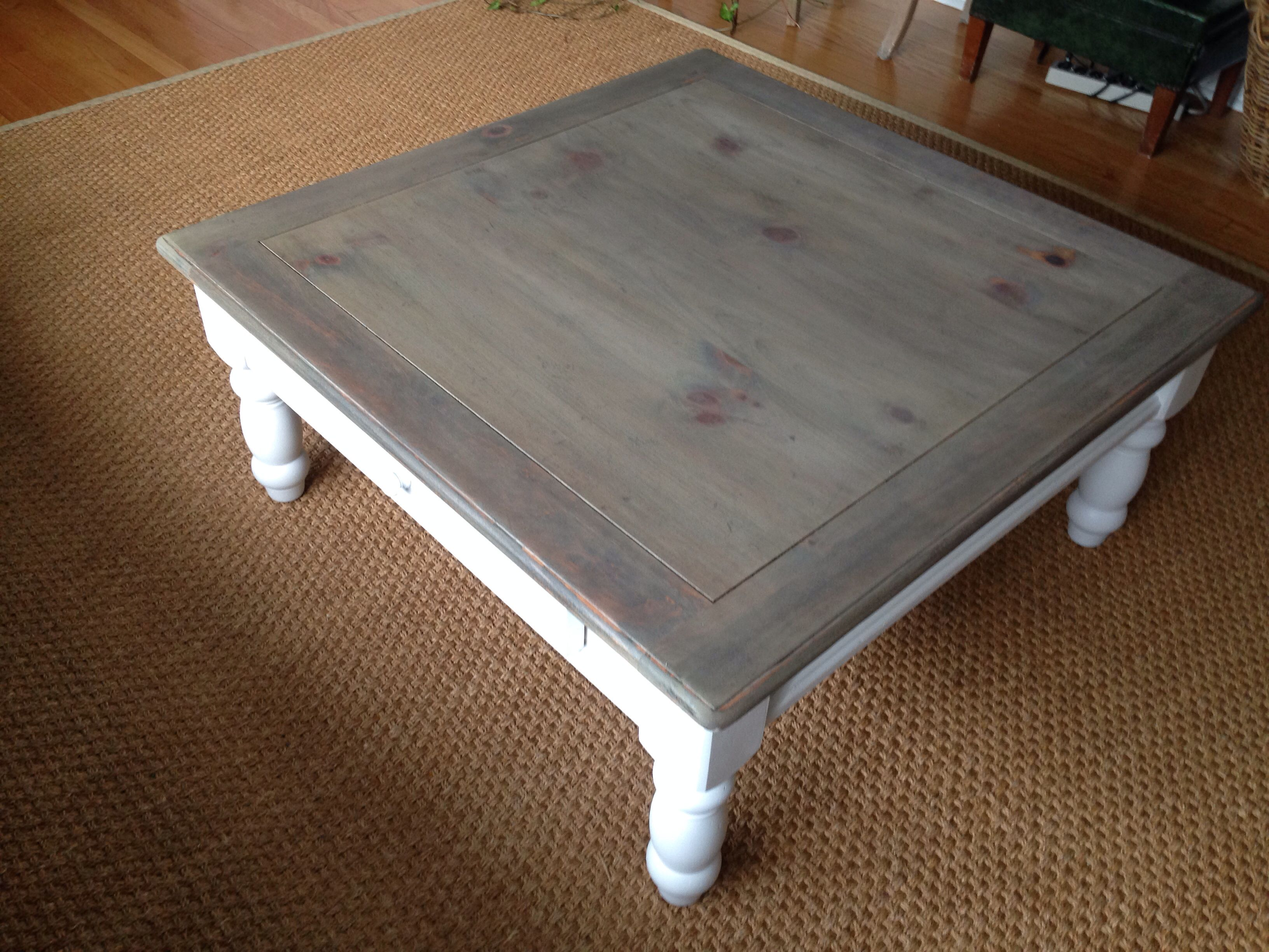 Gray Washed Coffee Table White Base Wood Coffee Table Rustic Coffee Table Painted Coffee Tables