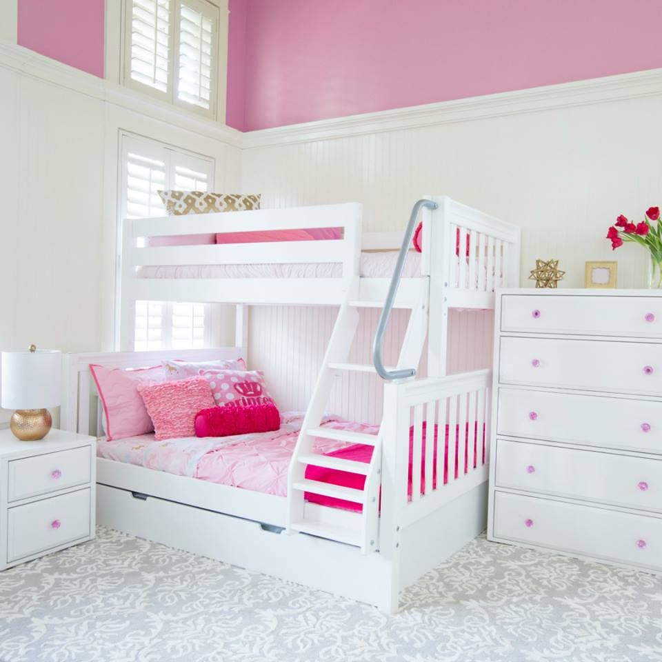 Maxtrix Twin Over Double Bunk Bed With Ladder Made Of Solid Maple