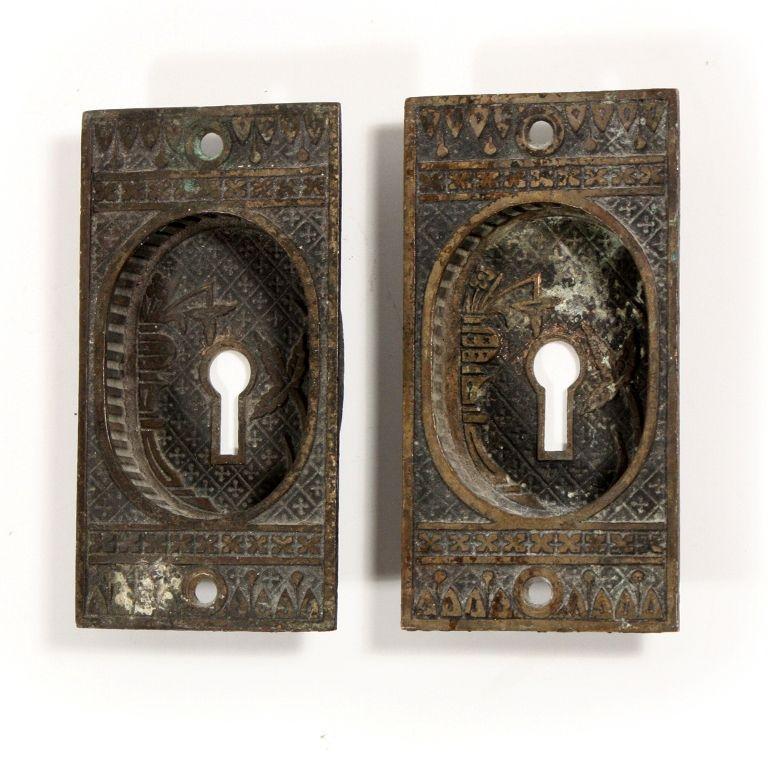 """Pair of Antique Lockwood """"Broken Leaf"""" Pocket Door Plates, Cast Bronze,  1880's - Pair Of Antique Lockwood """"Broken Leaf"""" Pocket Door Plates, Cast"""
