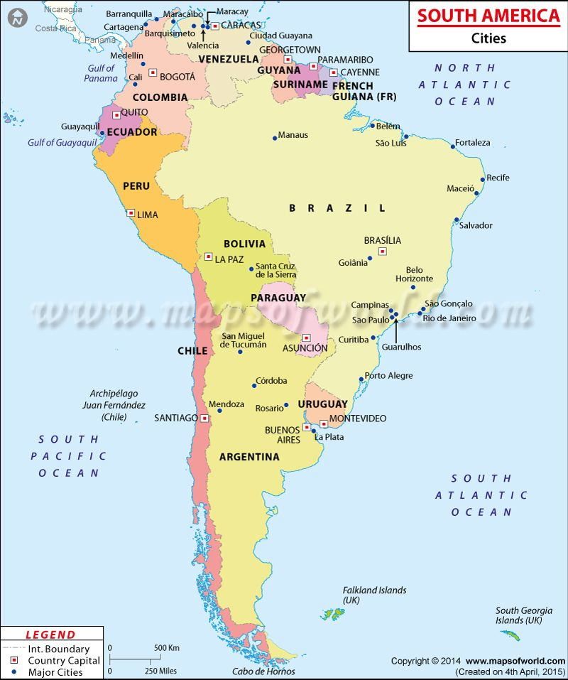 Map showing major cities in #SouthAmerica | Maps & Globes | South ...