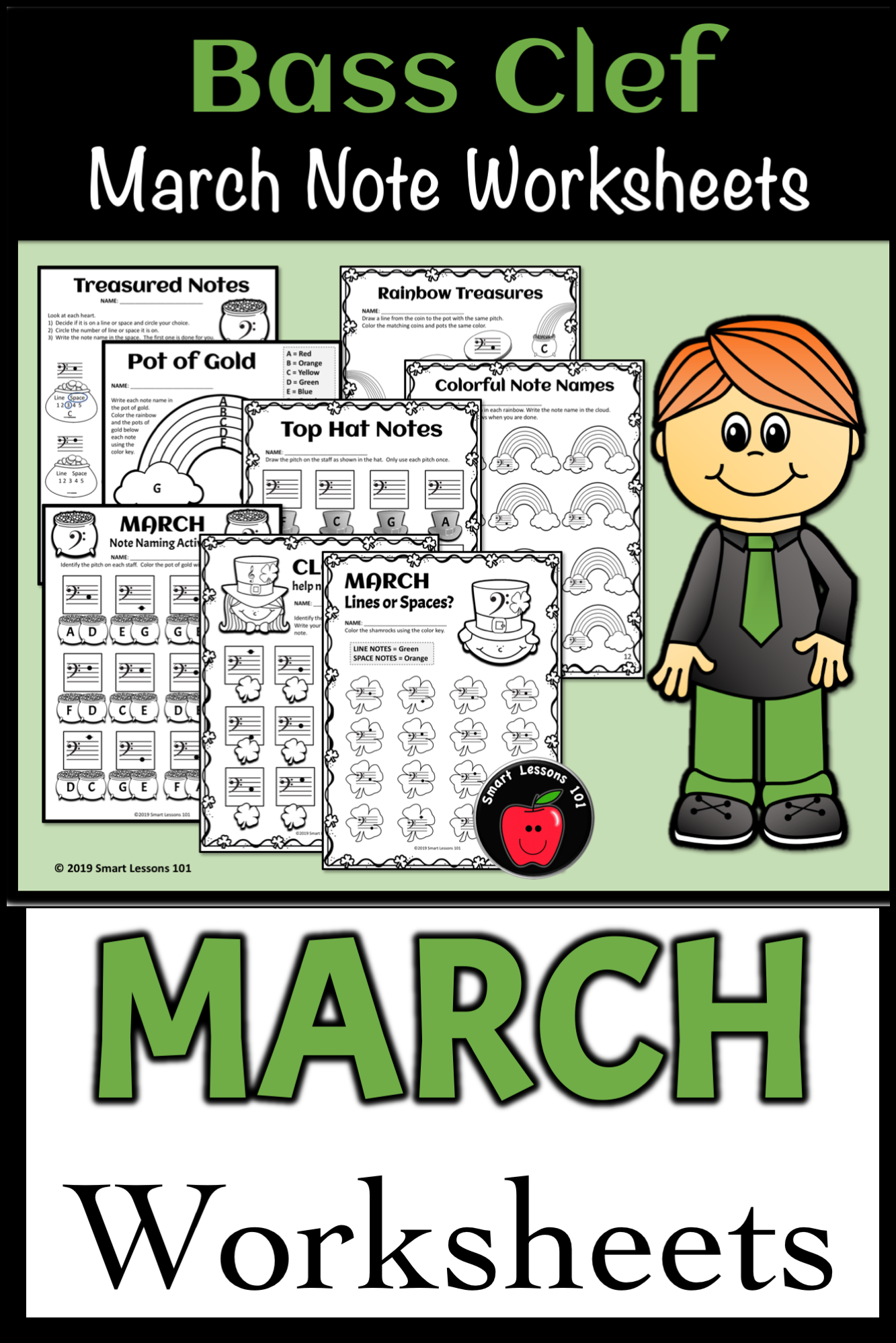 Distance Learning March Music Worksheets Treble Clef Bass