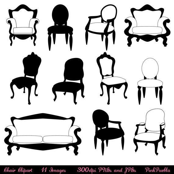 Chair Clip Art Clipart Chair Silhouettes Furniture Clip Art Etsy Photoshop Brushes Art Clipart Clip Art